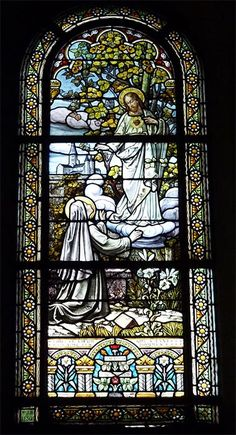 Stained Glass Window showing Margaret Mary Alacoque, « This is the heart that loved men so much Architectural Antiques, Stained Glass Windows, 19th Century, Old Things, Architecture, Notre Dame, Mary, Painting, French