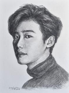 Lee Jong Suk Cute, Lee Jung Suk, Bts Drawings, Pencil Drawings, Anime K, Young Male Model, Korean Painting, Tree Sketches, Book Drawing
