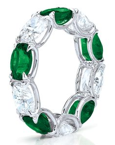 Cellini Jewelers Oval Emerald and Diamond Eternity. In a hand-made, shared-prong, platinum setting. Available in Custom Setting.
