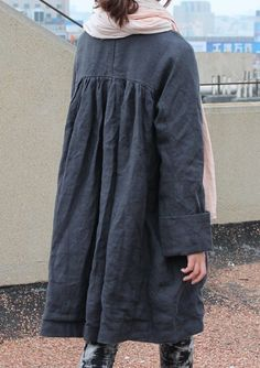 Free Style Pleated Linen Long Jacket/ Cape/ Black by Ramies