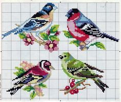 ♥embroidery designs →cross stitch pattern♥ by SoEasyPattern Cross Stitch Bird, Cross Stitch Animals, Cross Stitch Flowers, Cross Stitch Charts, Cross Stitch Designs, Cross Stitching, Cross Stitch Embroidery, Hand Embroidery, Cross Stitch Patterns