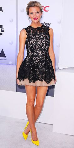 beautiful dress with fun bright touches & black lace.