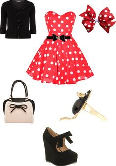 """mini mouse Disney inspired outfit"" by katiebutler2000 ❤ liked on Polyvore"