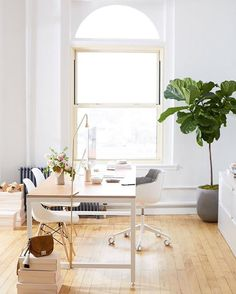 """(3/4) """"Having a serene workspace is key. Moving into my new office, I wanted to focus on simplicity: white walls, lots of natural light, and sun-bleached wood. From piecing together inspiration to discussing strategy with my office-mate/husband, this is where I go to really focus + create.  I especially love my custom made nude Vachetta leather covered desk – the leather is an @LoefflerRandall signature. xxJessie"""" #OKLTakeover #WhereToFindMe"""
