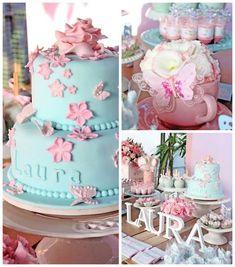 Festa das flores e borboletas em azul e rosa