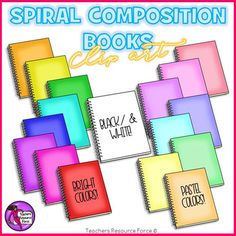 Dress up your teaching resources and bulletin boards with this 17 piece clip art set of spiral bound composition books! Product includes: 8 bright colors 8 pastel colors black and whiteEach image is high quality 300dpi png with transparent edges and closely cropped and black line is included!***************************************************************************Check out these other great related products!