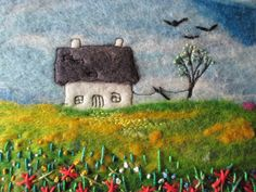 textile art felt landscape with stitch art on by SueForeyfibreart, £20.00