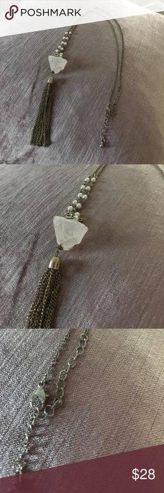 Just In 🏄♀️Lovely Quartz tassel pendant The best of all styles -tassel & Genuine raw Quartz hanging pendant , alligator safety clasp Jewelry Necklaces
