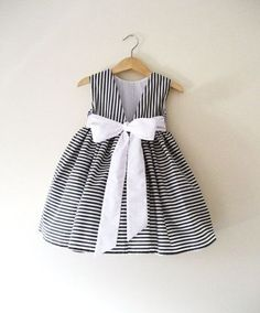 Items similar to Junior Bridesmaid dress in Deep Grey And White Stripes. on Etsy - Sandra Little Dresses, Little Girl Dresses, Girls Dresses, Flower Girl Dresses, Flower Girls, Short Dresses, Little Girl Fashion, Kids Fashion, Baby Dress Design
