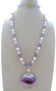 Amethyst necklace long pendant necklace beaded by Sofiasbijoux