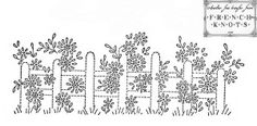 flowers on a fence embroidery pattern