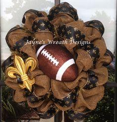 Saints burlap football wreaths with fleur de lis   Sports/ New Orleans  Jayne's wreath designs on fb