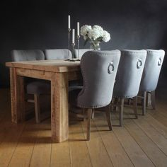 Edwardian English Beam Extendable Reclaimed Wood Dining Table with dining chairs