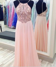 Halter Beaded Chiffon Long Prom Dress Evening Dress