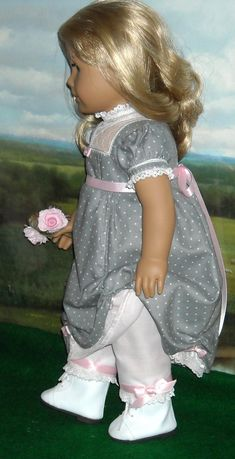 RESERVED 1812 Regency Gray Dress for 18 by SugarloafDollClothes