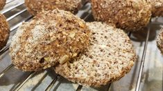 """Our best """"grainy"""" keto bread rolls EVER! Highly recommended if you miss the texture and taste of """"real"""" bread. Hemp Protein Powder, Bread Rolls, Recipe Cards, Almond Flour, Lchf, Food Processor Recipes, Muffin, Pumpkin, Baking"""