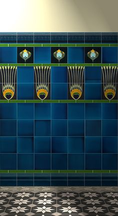 Large Peacock Motif Tiles heading a solid color tiled wall #ArtDeco