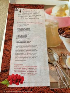 Raspberry chocolate puddings