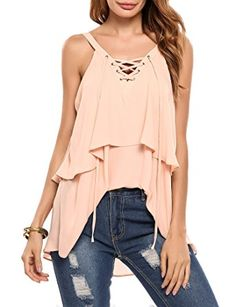 d2d12013f71 Zeagoo Women s Sexy Sleeveless Backless Shirt Tank Top Apricot XL at Amazon  Women s Clothing store