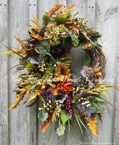 Fall Wreath Autumn Wreath Tuscany Wreath by NewEnglandWreath