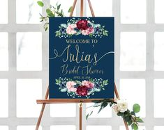 Burgundy Bridal shower welcome sign, printable bridal shower welcome sign, floral watercolor sign, bridal shower decoration, bridal tea sign Bridal Shower Welcome Sign, Bridal Shower Signs, Tea Party Bridal Shower, Welcome To The Party, Bridal Shower Decorations, Bridal Showers, Phuket Wedding, Reception Signs, Personalized Invitations