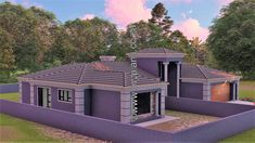 4 Bedroom House Plan - My Building Plans South Africa Round House Plans, Tuscan House Plans, Free House Plans, My Building, Building Plans, 5 Bedroom House Plans, Affordable House Plans, House Construction Plan, Home Design Floor Plans