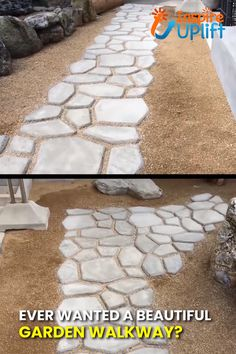 With the Garden Path Maker Mold you can create a gorgeous, cement (or red mud) garden path to enhance the beauty of your outdoor space. This paving mold consists of irregular-shaped holes, which hold the cement slurry and allow you to smooth out the Garden Yard Ideas, Backyard Patio Designs, Backyard Projects, Backyard Landscaping, Garden Steps, Rocks In Landscaping, Diy Garden Ideas On A Budget, High Desert Landscaping, Inexpensive Backyard Ideas