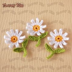 Crochet flower 30mm  fbcb23 by flowerybliss on Etsy, $3.30