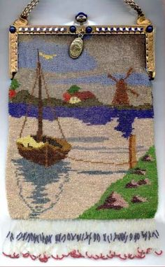 Scenic Sailboat & Windmill Micro-Beaded Purse with Fabulous Jeweled & Enameled Frame