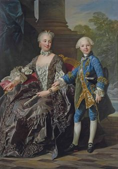 After Louis-Michel van Loo Duchess of Choiseul and her son. probably the Duke of Châteauvillain and his mother Marie Thérèse d'Este. Gabriel, 18th Century Fashion, Smart Art, Ludwig, Historical Art, Claude, Beauty Art, Michel, Mother And Child