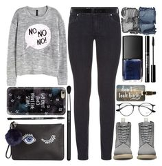 """""""Go Out"""" by grozdana-v ❤ liked on Polyvore featuring Paige Denim, H&M, Dr. Martens, Ray-Ban, NARS Cosmetics, Ann Demeulemeester, The BrowGal, Miss Selfridge, Casetify and MAC Cosmetics"""