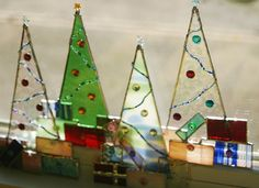 Stained Glass Christmas Tree w/ Presents Ornament by GaleazGlass, $22.00----great gift idea!
