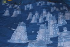 Dr Who Single Bed Double Sided Duvet Cover and Pillowcase with the logo, black holes, Tardis, Daleks and Cyberman Upcycling Material by AtticBazaar on Etsy Black Holes, Dalek, Dr Who, Tardis, Bedtime, Science Fiction, Duvet Covers, Pillow Cases, Logo
