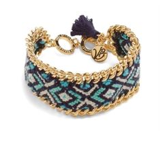 """Vera Bradley Bracelet  Tribe Bracelet By Vera Bradley. Dark Blue, Light Blue and Gold colors. New with tags.This colorful woven bracelet features shiny chain accents. Be both colorful and sophisticated! Details: Toggle and double ring closure offers an adjustable fit. Logo charm and tassel at toggle. Dimensions: 7 ¾"""" Vera Bradley Jewelry Bracelets"""