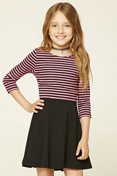 Forever 21 Girls - A ribbed knit top featuring an allover striped pattern, 3/4 sleeves, and a scoop neckline. Girls Sports Clothes, Preteen Girls Fashion, Cheap Kids Clothes, Teenage Girl Outfits, Kids Fashion Boy, Kids Outfits Girls, Cute Girl Outfits, Girl Fashion, Tween Girls