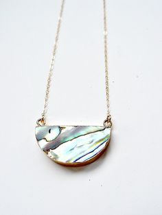 Abalone Shell Moon Gold Necklace OOAK by friedasophie on Etsy