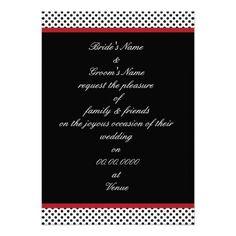 Black, white and red polka dot Invitation