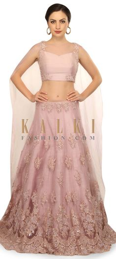 Light purple lehenga featuring in net with raw silk lining. Blouse is in silk with attached cape dupatta in tissue. Ghaghra Choli, Eastern Dresses, Engagement Outfits, Bridal Lehenga, Light Purple, Indian Wear, Indian Fashion, Casual Wear, Fashion Looks