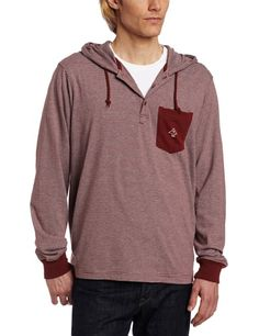 LRG Men's Big-Tall Core Collection Pullover Layering Hoody Henley, Burgundy, 3X-Large Nylon. Single chest pocket.  #LRG #Apparel