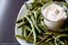Roasted Green Bean Fries with Creamy Dipping Sauce! {THM S}These are sooooo good.  Roast only 15-20 minutes even if they are frozen. Ajm