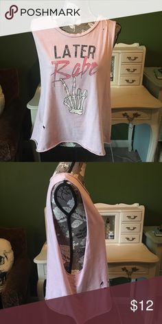 Thieving Hearts Later Babe Tank Thieving Hearts Later Babe skeleton peace sign tank, baby pink, size L, distressed. Super cute pastel goth piece! ✌️ Thieving Hearts Tops Tank Tops