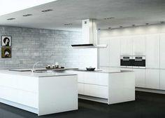 white handleless kitchen peninsular - Google Search