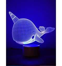 Narwhal, Optical Illusion Night Light in now at Children's Rooms Under The Sea 3d, Toddler Night Light, 3d Optical Illusions, Ceiling Shades, Wall Stickers, Color Change, Colours, Power Cable, Usb