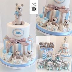 Il battesimo di Pietro. Cake by Bella's Bakery - Monza Baby Boy Cakes, Cakes For Boys, Baby Shower Signs, Baby Boy Shower, Baby Party, Baby Shower Parties, Teddy Bear Cakes, Baby Shower Cookies, Baby Shower Printables