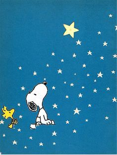 Snoopy and Woodstock star gazing.