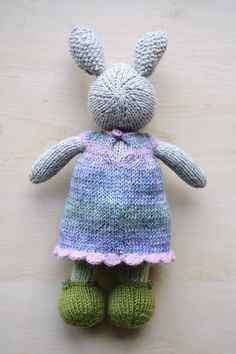 Hand Knit Bunny Girl with Outfit Soft Toy Knitted Little Bunny