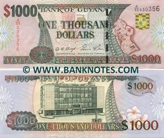 Guyana 1000 Dollars (2000-02)  Front: Coat of arms; Map of Guyana. Back: Bank of Guyana building. Watermark: Head of a Macaw parrot. Printer: Thomas De La Rue & Company, Limited. Signatories: Dolly S. Singh (Governor (ag)); Saisnarine Kowlessar (Minister of Finance).