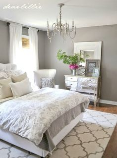 Loads of tips for how to organize, decorate and add style to a small bedroom. An attractive hanging light fixture or the sparkle of a chandelier can bring a small space to life. Just be careful of the size and the fussiness of the fixture. A too large or too fussy light fixture can visually fill up a room. by Makia55