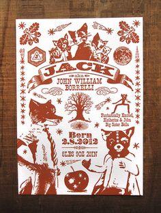 Home : Ten Fantastic Stationery Designers  Fantastic Mr Fox Custom Designed Letterpress Birth by colorquarry