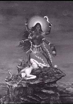 Indian Goddess Kali, Goddess Art, Durga Goddess, Indian Gods, Indian Art, Divine Goddess, Shiva Art, Shiva Shakti, Hindu Art